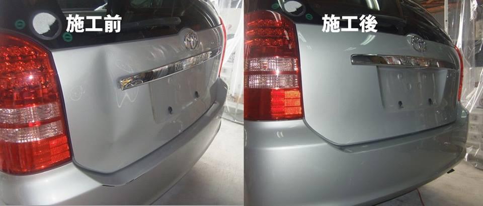 トヨタ ウイッシュ リアゲートのへこみをデントリペアで修理します! 大きなへこみも鈑金塗装しなくていいんです。大阪のデントリペア専門店!デントリペア大阪/高槻/枚方/茨木/島本/京都